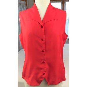 Dressbarn Women's L Red Sleeveless Blouse